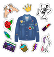 patches denim jacket vector image vector image
