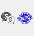pixelated financial chat icon and grunge vector image vector image