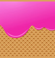 raspberry cream melted on wafer background vector image vector image