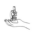 right hand holding microscope vector image vector image