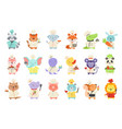 set cute animal characters in chef uniform