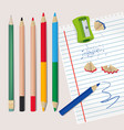 sharpener and wood debris from pencils vector image