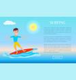 surfing web poster design boy surfer summer sport vector image