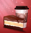 tasty chocolate cake and cup of coffee vector image