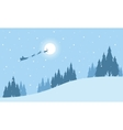 Train santa on the sky at niht landscape vector image vector image