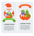 vertical greeting banner with santa claus vector image vector image