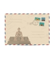 Vintage postal envelope with stamps vector image