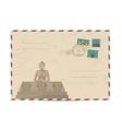 vintage postal envelope with stamps vector image vector image