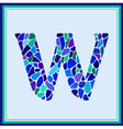 W - letter - Green Watercolor mosaic vector image vector image
