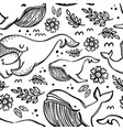 whales in sketch cartoon seamless pattern vector image