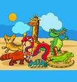 wild animals cartoon characters group