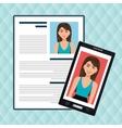 woman smartphone find person cv vector image vector image