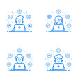 set of blue flat linear and vector image