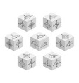 3d cubes with abstract symbols on each side vector image vector image