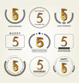 5 years anniversary logo set vector image vector image