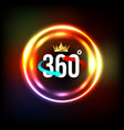 angle 360 degrees sign with circle light vector image vector image