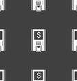 atm icon sign Seamless pattern on a gray vector image