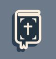 black bible book icon isolated on grey background vector image vector image