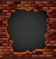 breaking through a brick wall with a hole vector image vector image