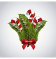 Candy leaves and bowtie icon Merry Christmas vector image vector image
