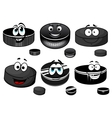 Cartoon black ice hockey pucks characters vector image vector image