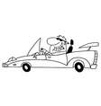 Cartoon man driving car vector image vector image