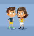 cute boy and girl characters vector image