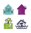 destroyed house icon set color outline style vector image vector image