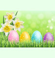 easter colorful eggs on green grass background vector image vector image