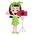 girl with camera on white background vector image vector image