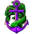 green fish around anchor vector image