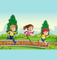 group of girl ranning in park vector image