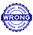grunge blue wrong word round rubber seal stamp on vector image vector image