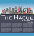 hague netherlands city skyline with color vector image vector image