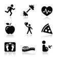 Health and fitness black clean icons set vector image vector image