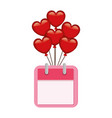 heart shaped party balloons with calendar vector image