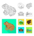 isolated object wildlife and bog icon set of vector image