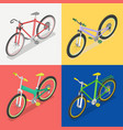 isometric bicycle set with extreme and road bike vector image