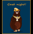 kawaii cartoon bear in slippers and night cap vector image