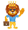 lion with suitcase on white background vector image vector image
