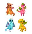 little cute cartoon dragons set colotful fantasy vector image