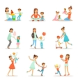 Loving Mother Playing And Enjoying Good Quality vector image vector image