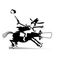 man or cowboy rides on horse isolated vector image vector image