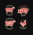 meat set labels butcher shop food symbol vector image