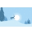 One reindeer on the hill Christmas landscape vector image vector image