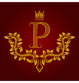 Patterned golden letter P monogram in vintage vector image vector image