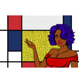 pop art woman retro girl happy face vector image vector image