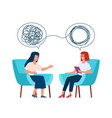 psychotherapy concept psychologist and patient vector image