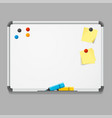 realistic detailed 3d white board vector image vector image