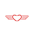 Red heart logo wings shape monogram style medical vector image vector image
